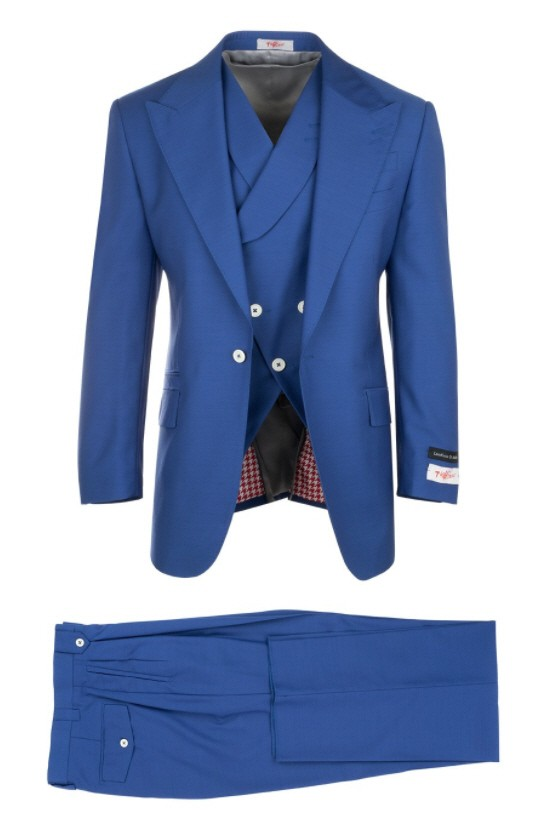 3 Pc Full Cut Men's Suit  by Tiglio Rosso - New Rosso Royal Blue