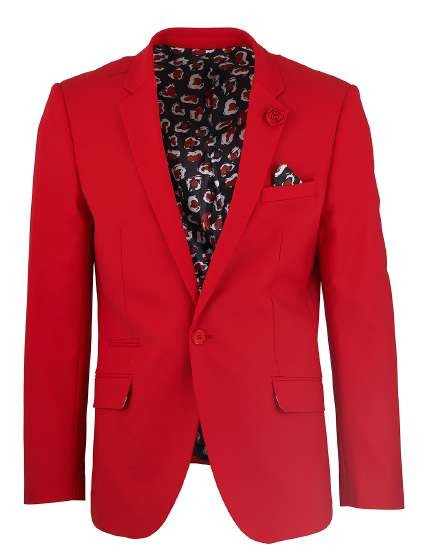 Men's Sateen Blazer by Suslo Couture - Red