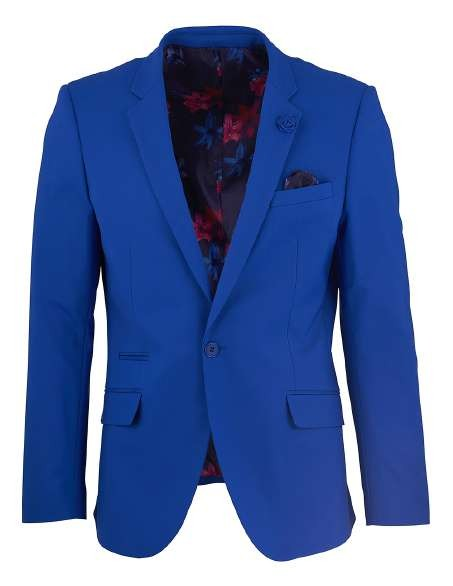 Men's Sateen Blazer by Suslo Couture - Royal