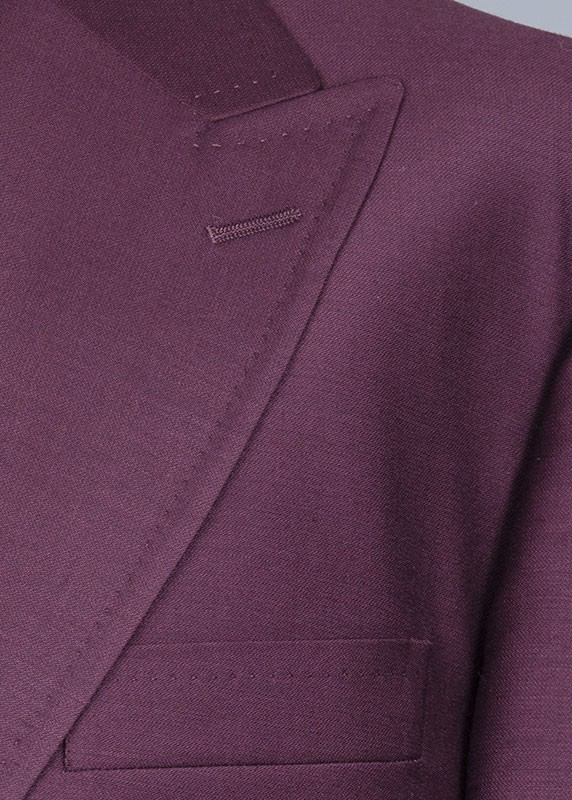 San Giovesse Full Cut Men's Suit  by Tiglio Rosso - Burgundy Lapel Detail