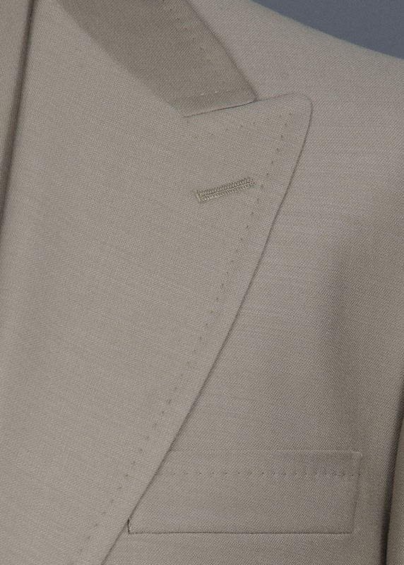 San Giovesse Full Cut Men's Suit  by Tiglio Rosso - Taupe Lapel Detail