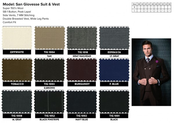San Giovesse Full Cut Men's Suit  by Tiglio Rosso - Swatches