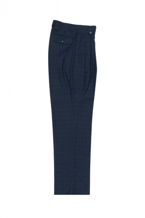 Men's Wide Leg Pleated Pants by Tiglio - 2586/2576 Navy Jacquard