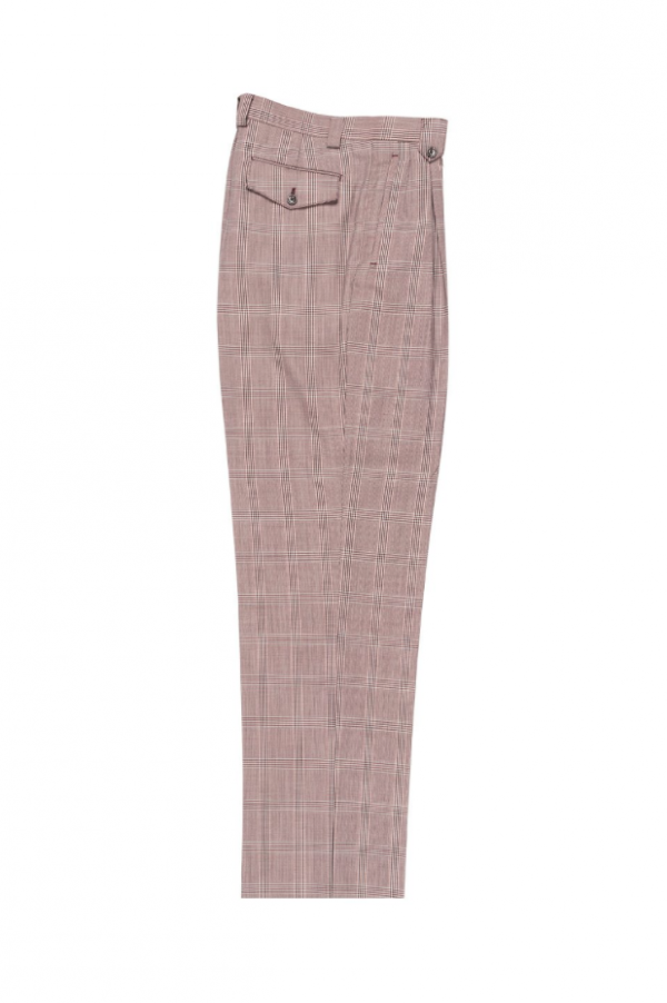 Men's Wide Leg Pleated Pants by Tiglio - 2586/2576 Burgundy/Black/Off-White Windowpane