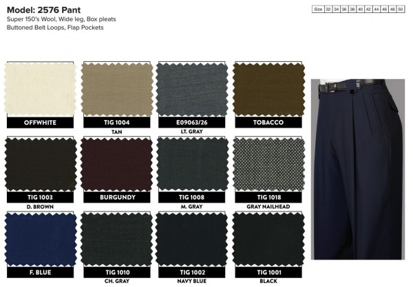Men's Wide Leg Pleated Pants by Tiglio - Color Swatches