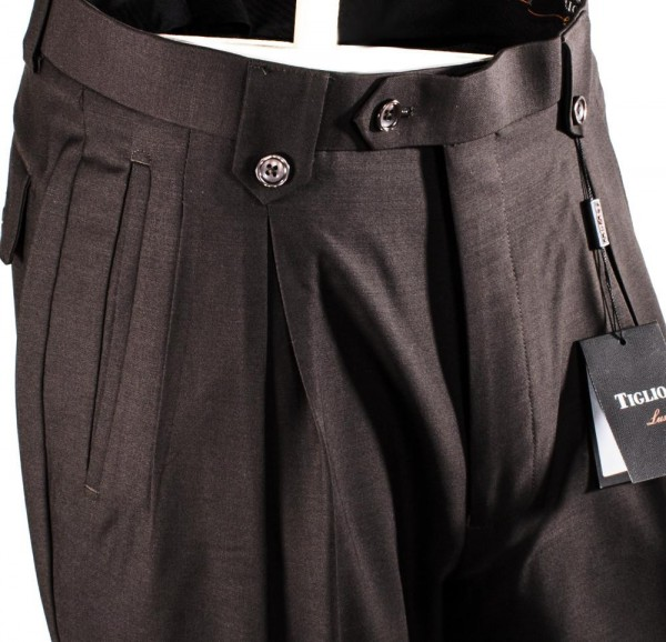 Men's Wide Leg Pleated Pants by Tiglio - 2576 Brown b