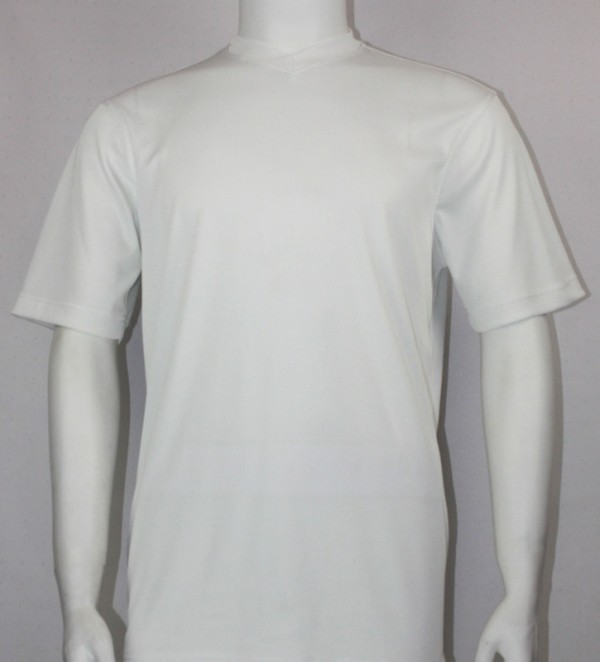 Bassiri S/S Mens V-Neck Knit Microfiber T-Shirt - White