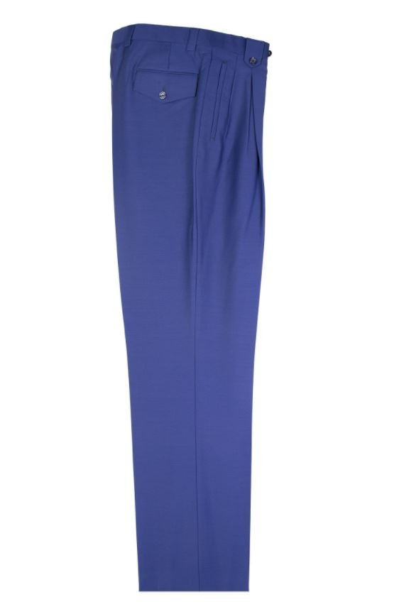 Men's Wide Leg Pleated Pants by Tiglio - 2576 French Blue