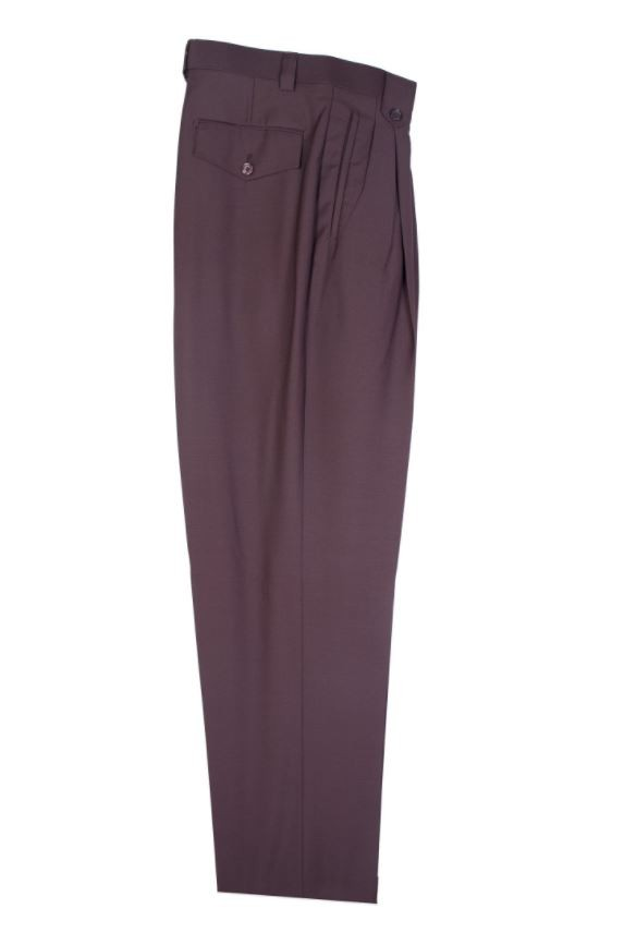 Men's Wide Leg Pleated Pants by Tiglio - 2576 Brown