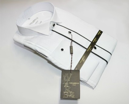 Vitarelli Mens Tuxedo Dress Shirt White With Black Trim