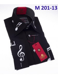 Men's Fashion Shirt by AXXESS - Music / Black White