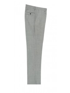 Men's Flat-Front Pants by Tiglio - Lt Gray Birdseye