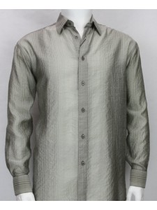Bassiri L/S Button Down Men's Shirt - Lt Grey Shadow Stripe *NEW*