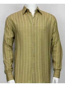 Bassiri L/S Button Down Men's Shirt - Lt Khaki Shadow Stripe *NEW*