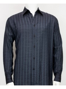Bassiri L/S Button Down Men's Shirt - Navy Shadow Stripe *NEW*