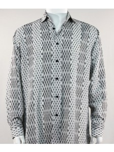Bassiri L/S Button Down Men's Shirt - Patterned Lines Black *NEW*