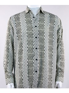 Bassiri L/S Button Down Men's Shirt - Patterned Lines Black Tan *NEW*
