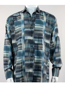 Bassiri L/S Button Down Men's Shirt - Patterned Lines Black Turq *NEW*