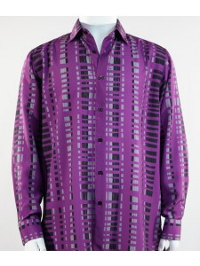Bassiri L/S Button Down Men's Shirt - Crossed Pattern Purple