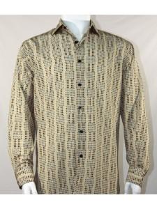 Bassiri L/S Button Down Men's Shirt - Mini Dots Tan