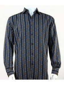 Bassiri L/S Button Down Men's Shirt - Mini Dots Blue Gold