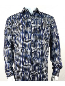 Bassiri L/S Button Down Men's Shirt - Houndstooth / Blue