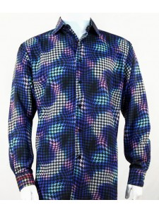 Bassiri L/S Button Down Men's Shirt - Houndstooth / Royal