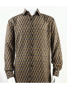 Bassiri L/S Button Down Men's Shirt - Doors / Gold