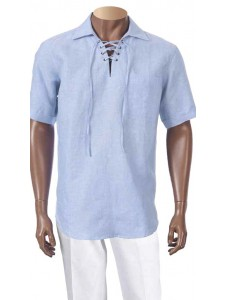Men's 100% Linen S/S Shirt by Inserch / Merc - Lt Blue