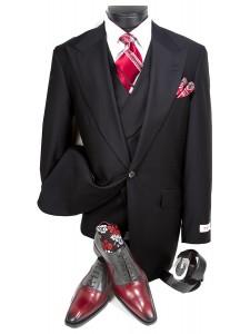 3 Pc Full Cut Men's Suit  by Tiglio Rosso - New Rosso Black
