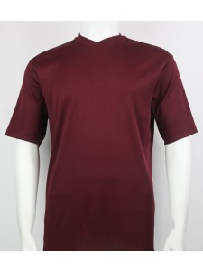 Bassiri S/S Mens V-Neck Knit Microfiber T-Shirt - Burgundy