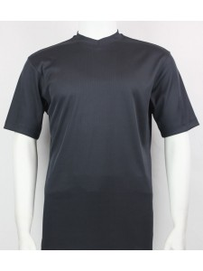 Bassiri S/S Mens V-Neck Knit Microfiber T-Shirt - Charcoal