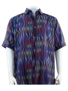 Bassiri S/S Button Down Men's Shirt - Houndstooth Pattern / Blue