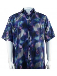 Bassiri S/S Button Down Men's Shirt - Houndstooth Pattern / Royal