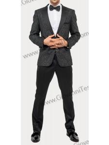 Giovanni Testi Slim Fit Tuxedo Suit - Glitter / Silver