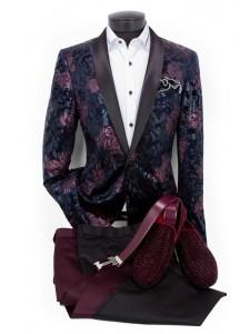 Men's Fashion Blazer by Suslo - Plum / Navy Floral