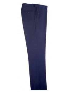 Men's Flat-Front Pants by Tiglio - Blue Birdseye
