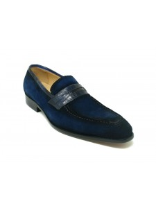 Men's Slip-On Shoes by Carrucci - Penny Loafer / Suede Navy