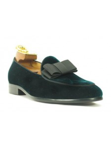 Men's Fashion Shoes by Carrucci - Emerald Velvet / Bow