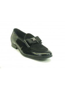 Men's Slip On Leather Loafers by Carrucci - Poem Black