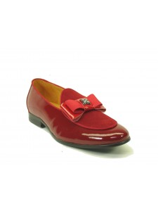 Men's Slip On Leather Loafers by Carrucci - Poem Red