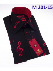 Men's Fashion Shirt by AXXESS - Music / Black Red