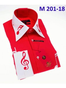 Men's Fashion Shirt by AXXESS - Music / Red White