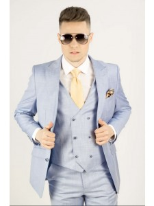Needle & Stitch Men's Modern Fit 3 Piece Suit - Light Blue