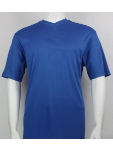 Bassiri S/S Mens V-Neck Knit Microfiber T-Shirt - Royal