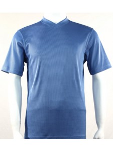 Bassiri S/S Mens V-Neck Knit Microfiber T-Shirt - Lt Blue
