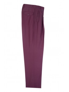 Men's Wide Leg Pleated Pants by Tiglio - 2576 Burgundy
