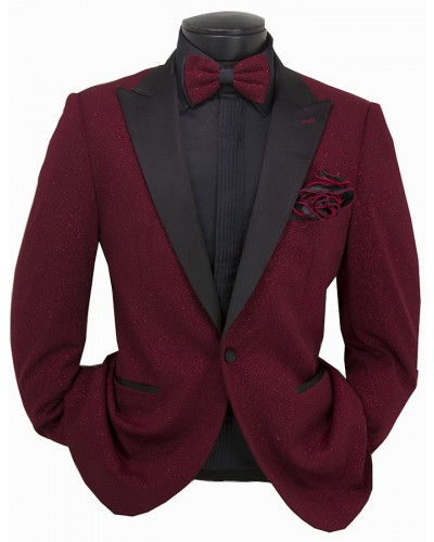 Giovanni Testi Slim Fit Tuxedo Suit - Glitter / Burgundy a
