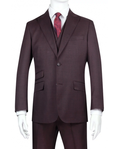 Needle & Stitch Men's 3 Piece Suit - Textured Solid / Burgundy