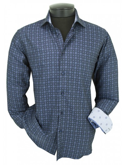 Canaletto Modern Fit Men's Dress Shirt - Made in Italy - Blue Pattern a